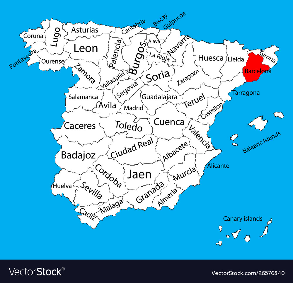 Barcelona Map Spain Province Administrative Map Vector Image