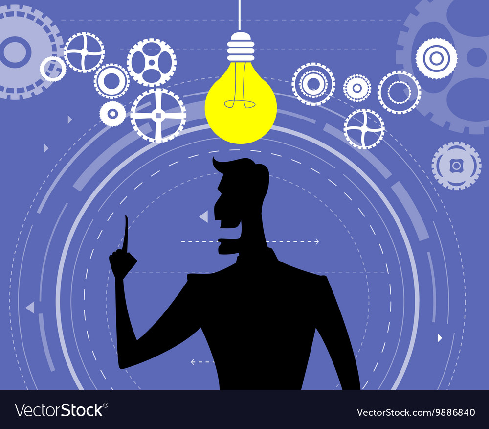 Businessman silhouette with bulb of idea