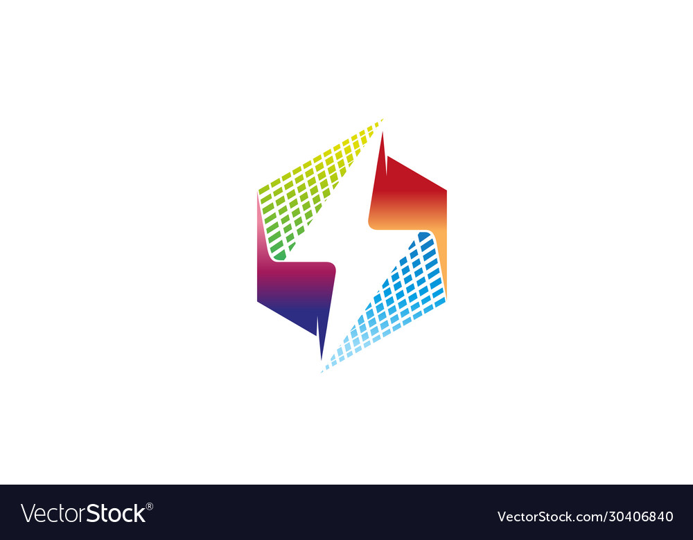 Creative abstract colorful hexagon thunder logo vector