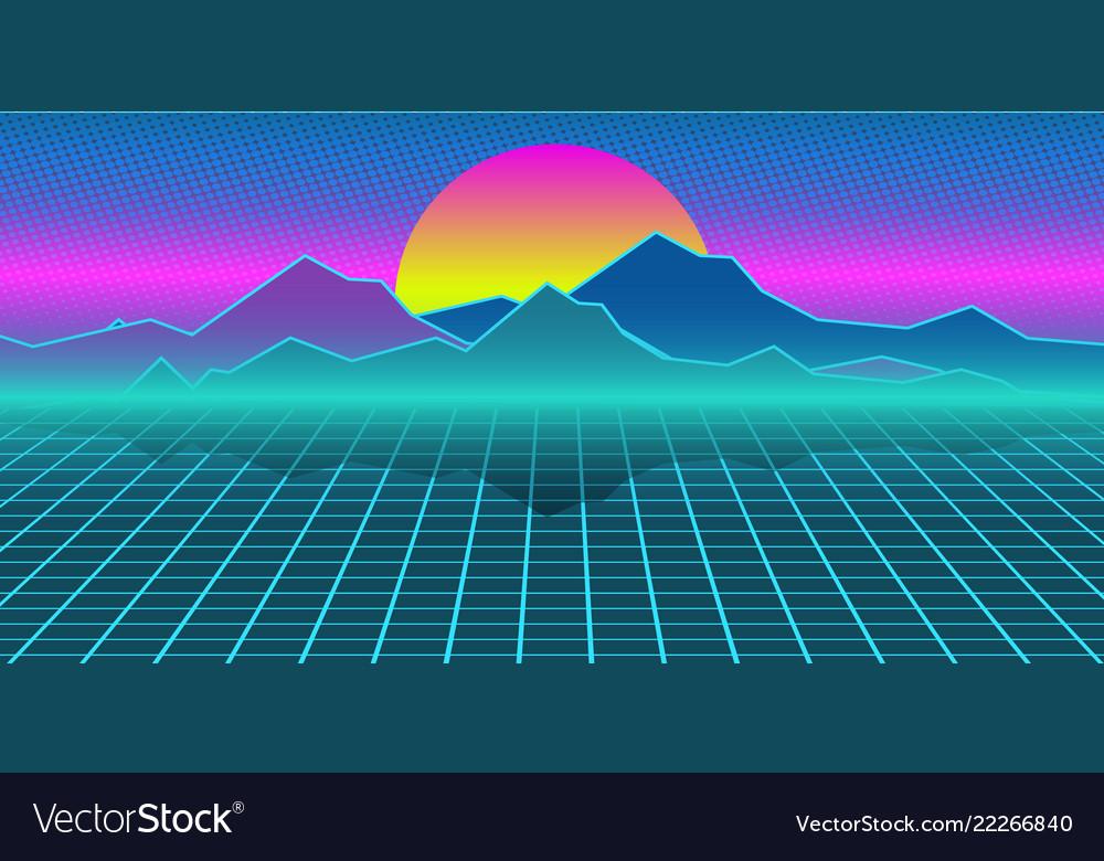 Cyberpunk retro computer background mountains