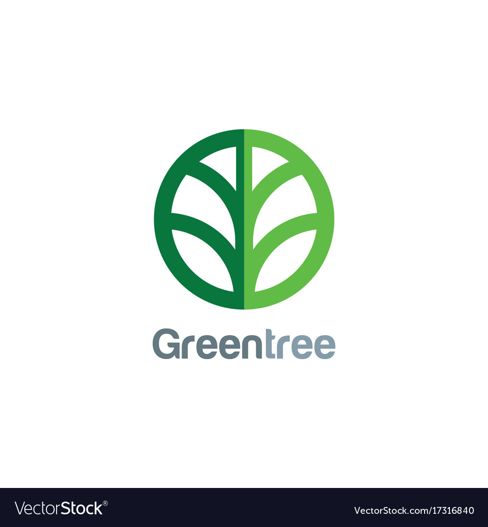 Green tree round icon logo