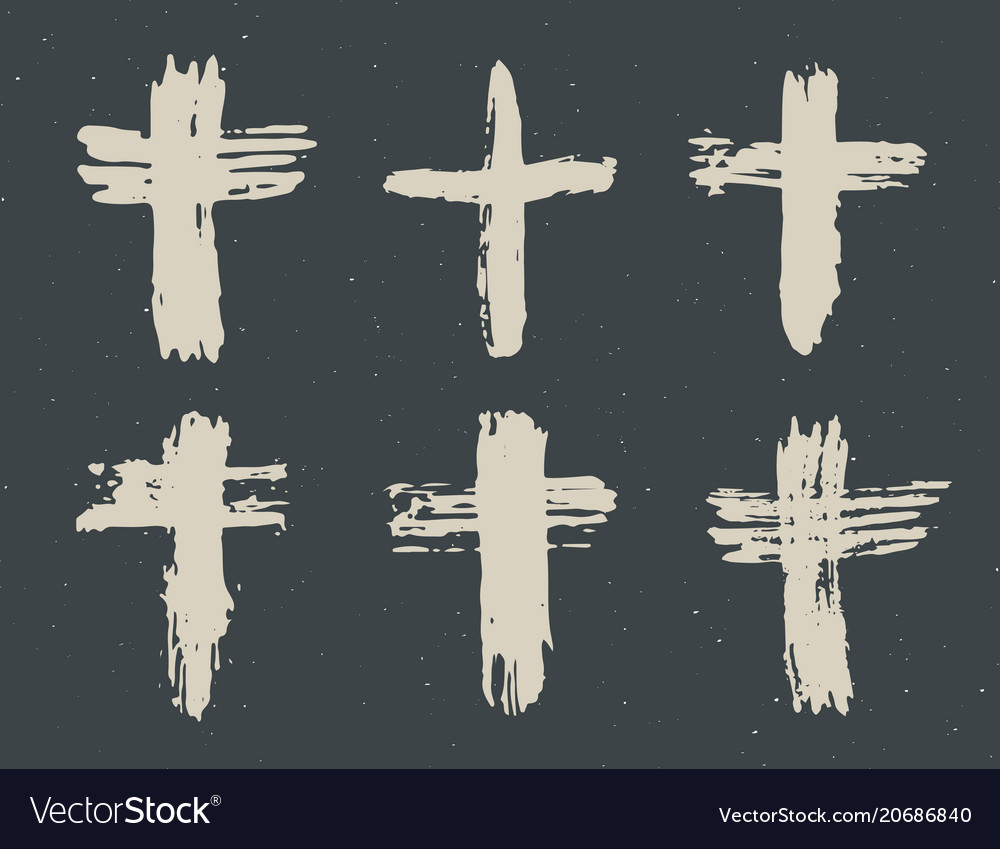 Grunge hand drawn cross symbols set christian