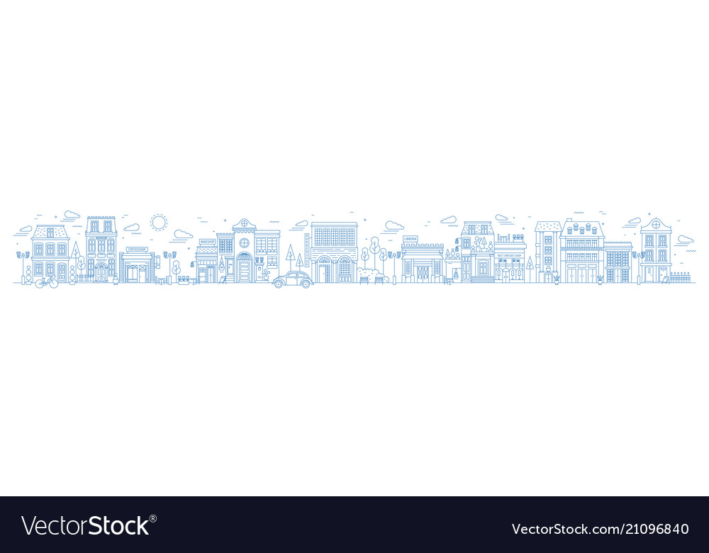 Monochrome horizontal urban landscape with city or