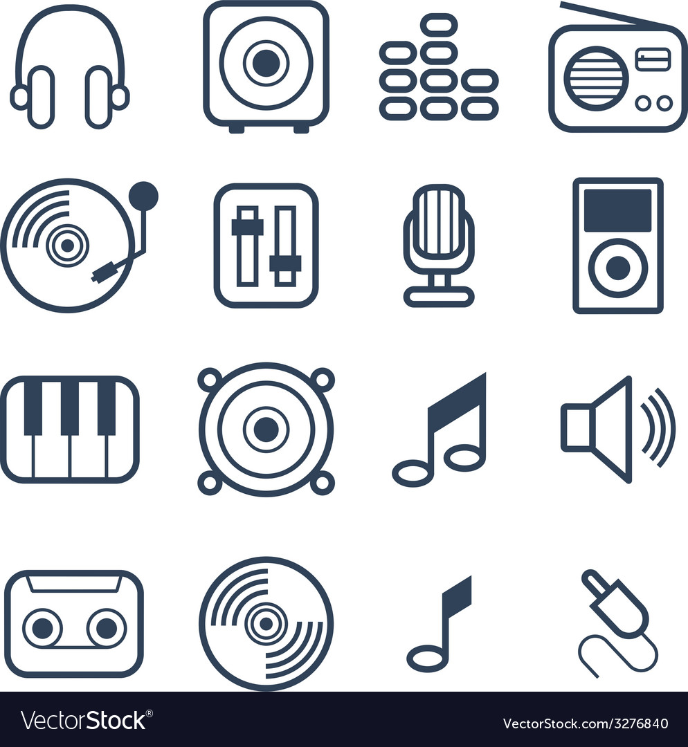 Music Icons with White Background