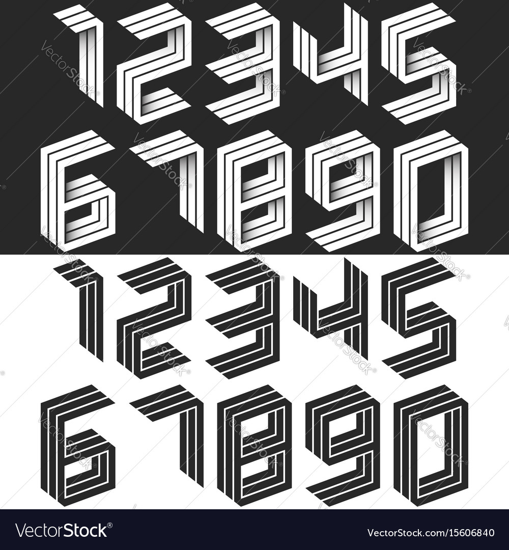 Numbers set isometric geometric shape black and