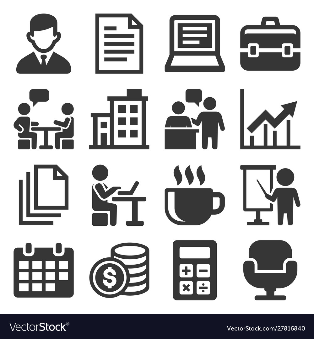 Office icons set on white background