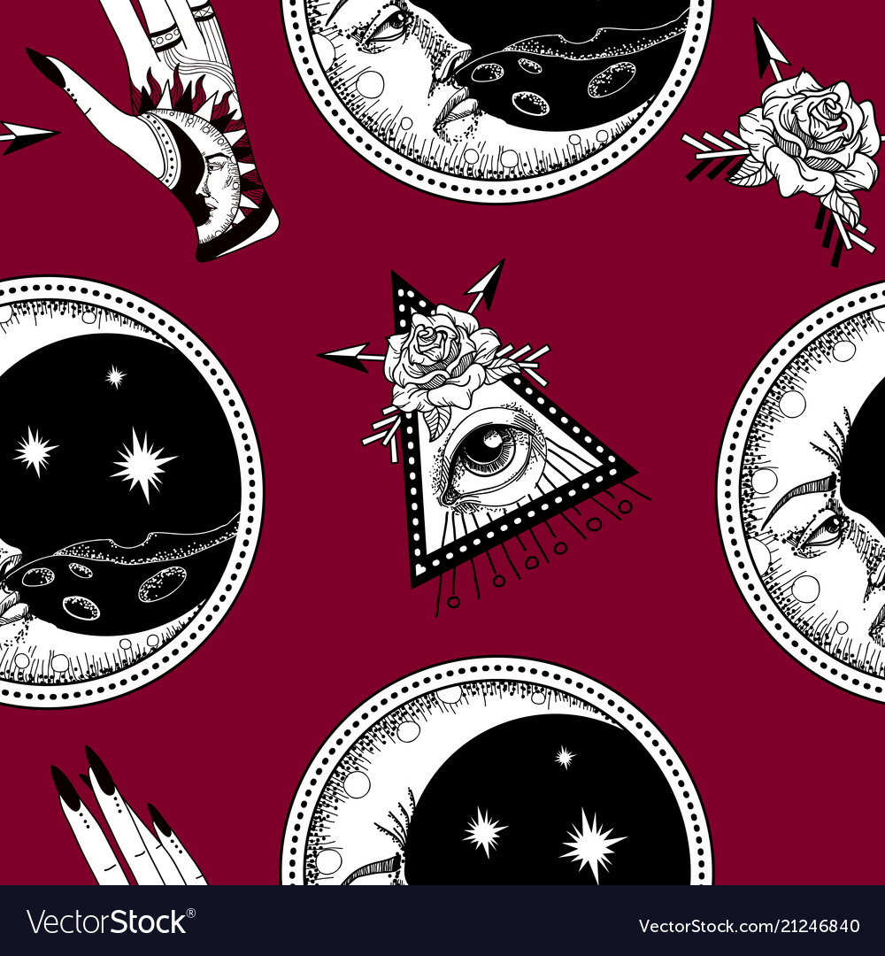 Seamless pattern with ancient astronomical