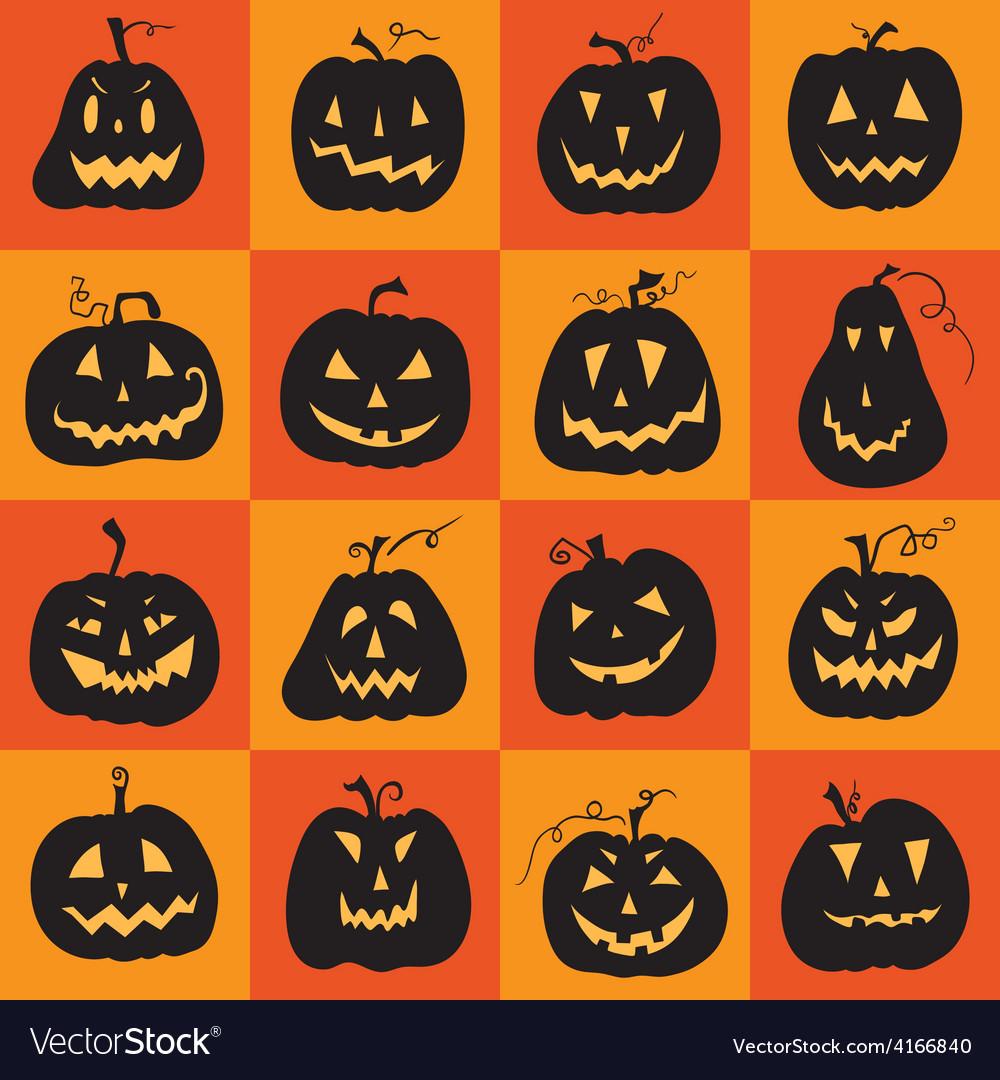 Set of a scary halloween pumpkin