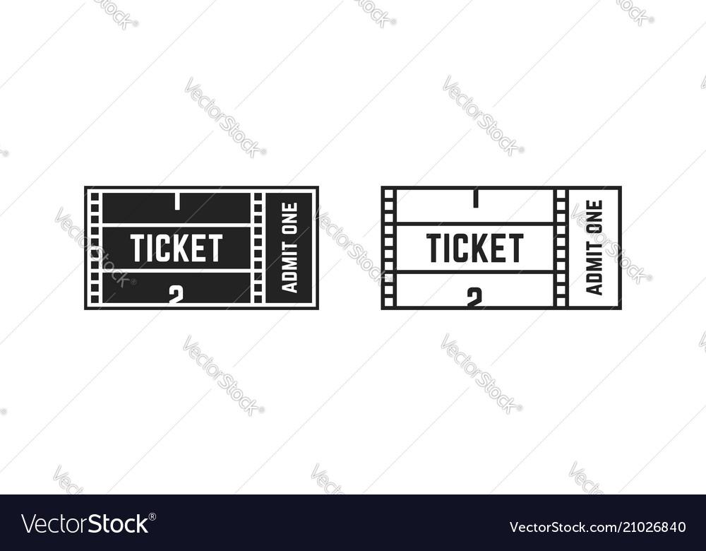 Set of cinema or online movie ticket