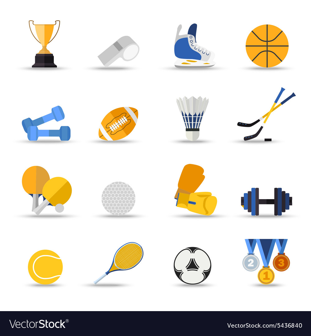 Set sport isolated icons flat style design