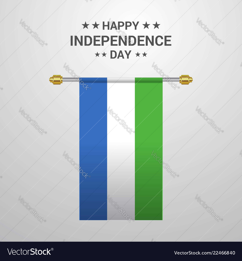 Sierra leone independence day hanging flag