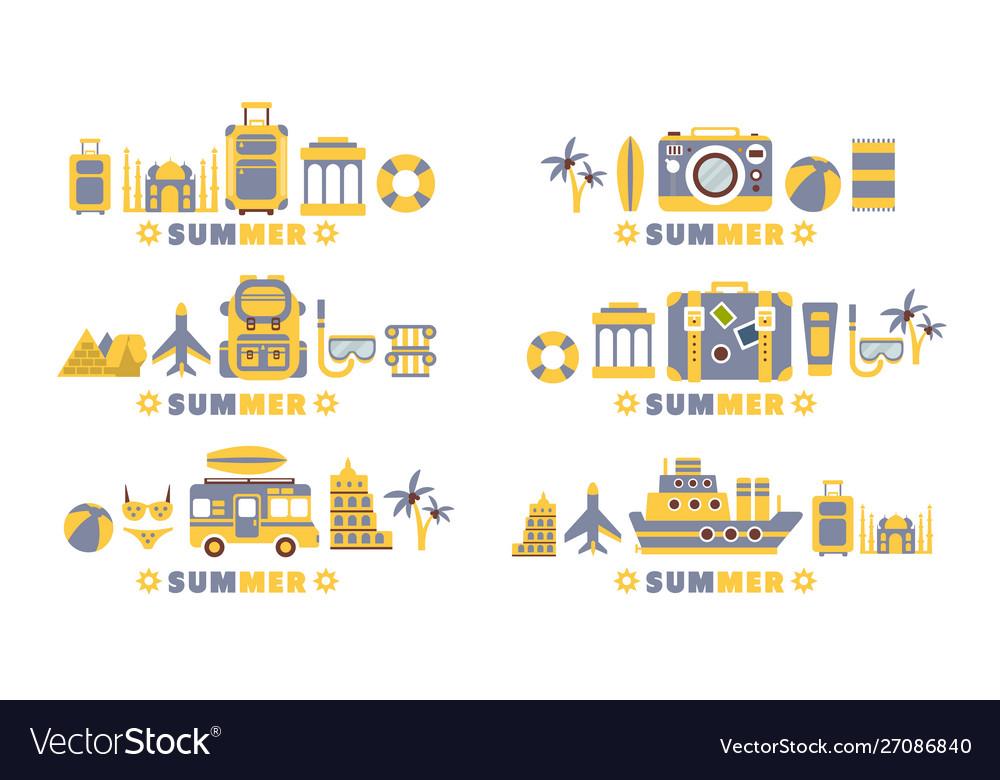 Summer travel badges set summertime holidays