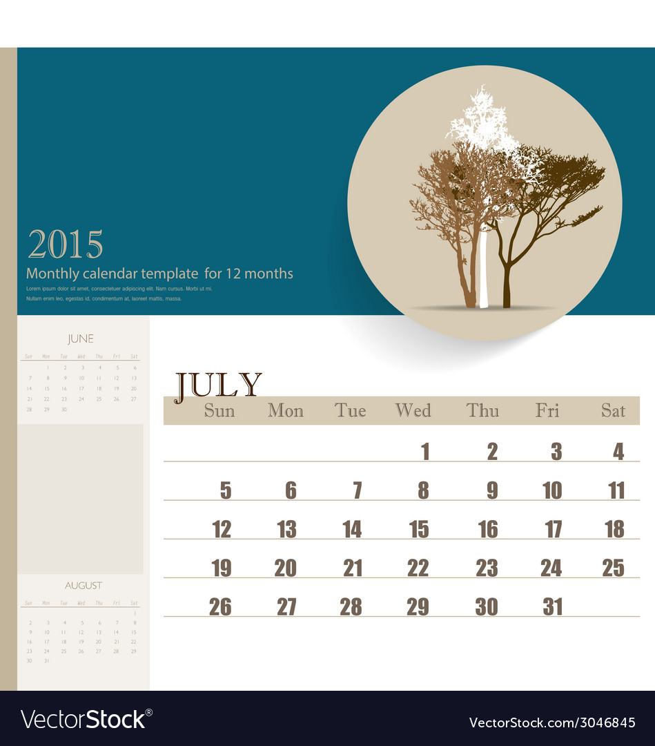 2015 Calendar Monthly Calendar Template For July Vector Image