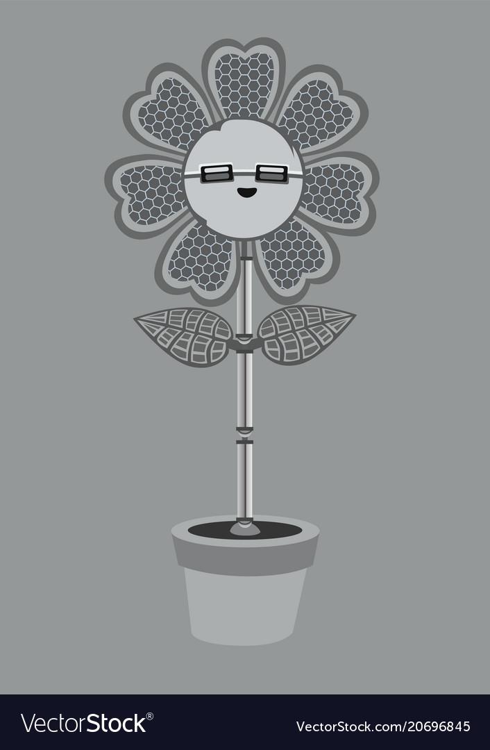 A metallic robot flower