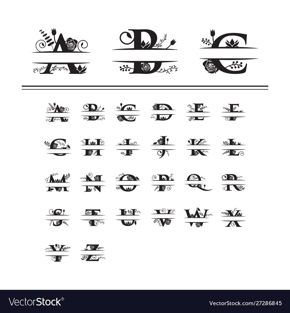 Decorative monogram split letter graphic design