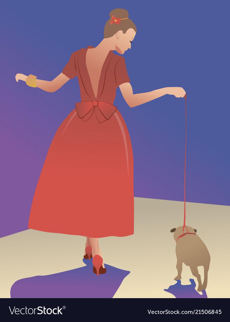 Girl blue dress dog