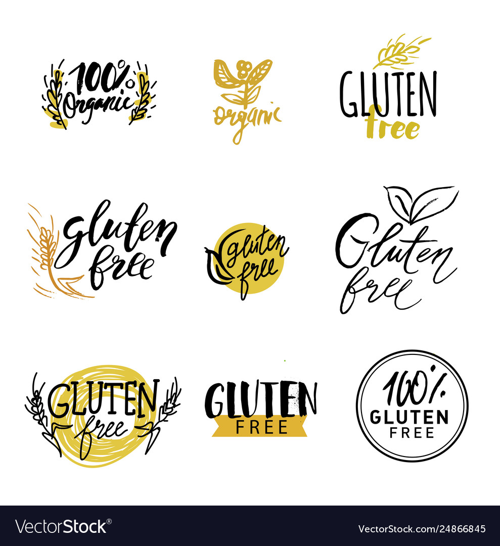 Gluten free healthy dietetic product icons