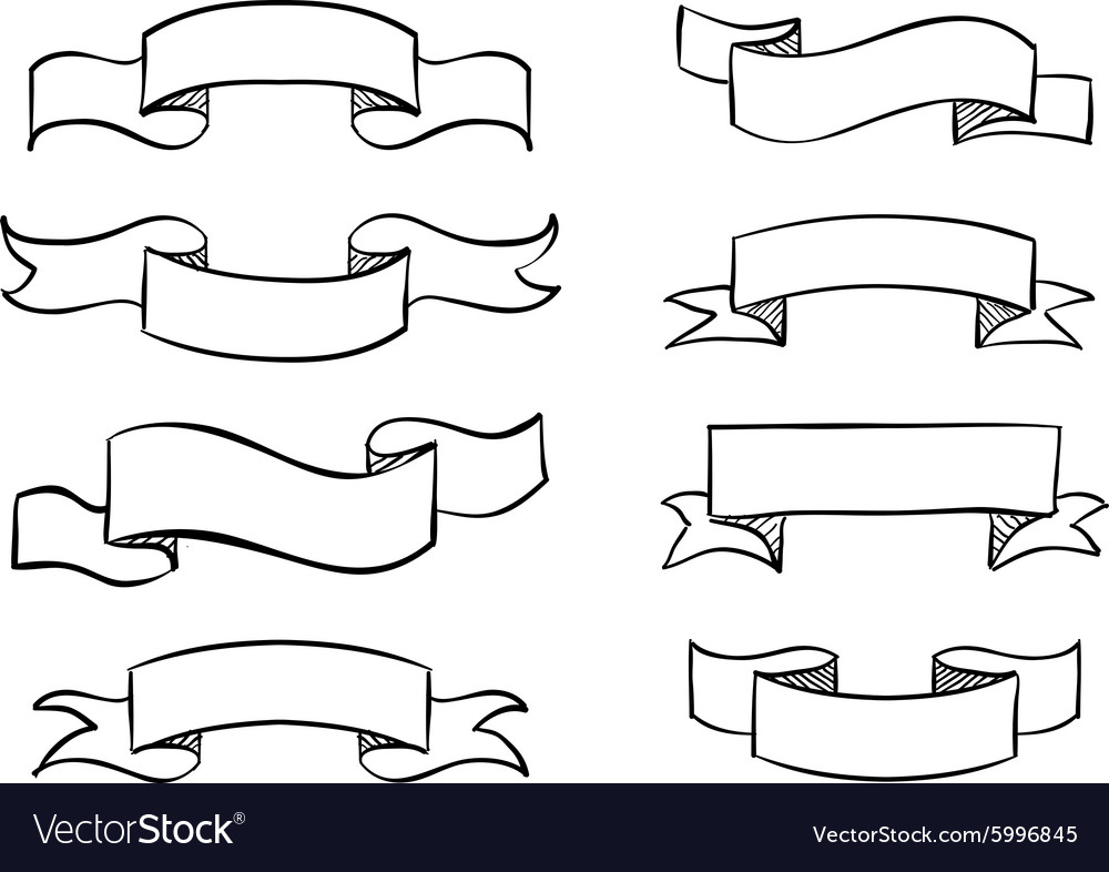 hand drawn banner scribble vintage scroll vector image
