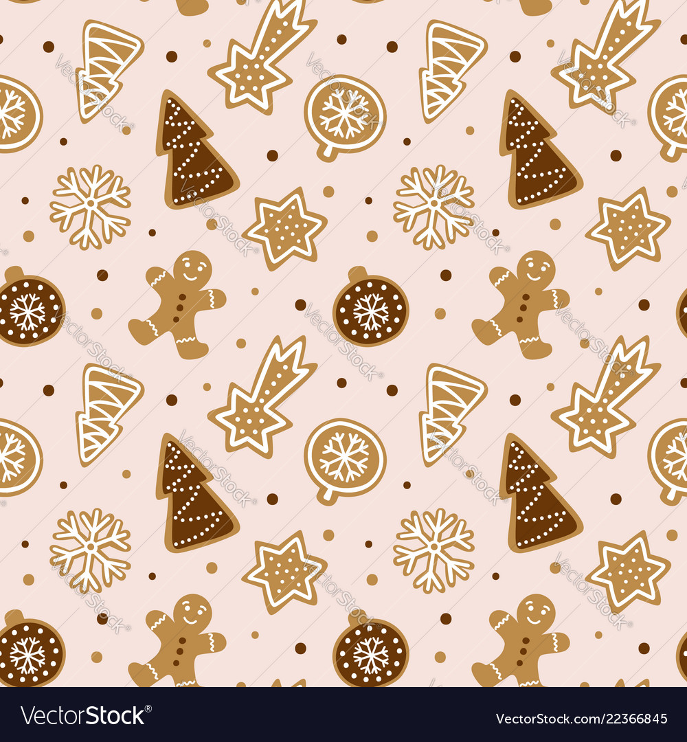 Hand drawn seamless pattern with cookie cute