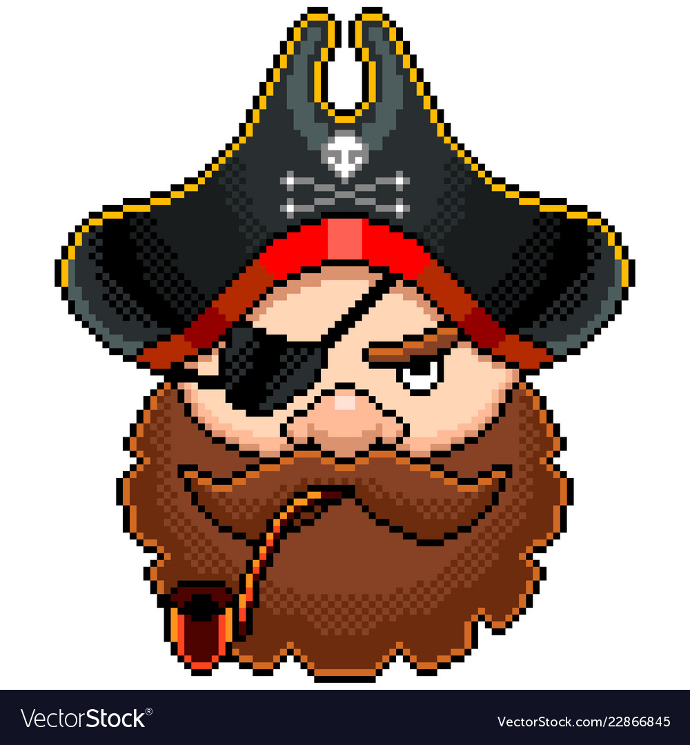 Pixel pirate portrait detailed isolated