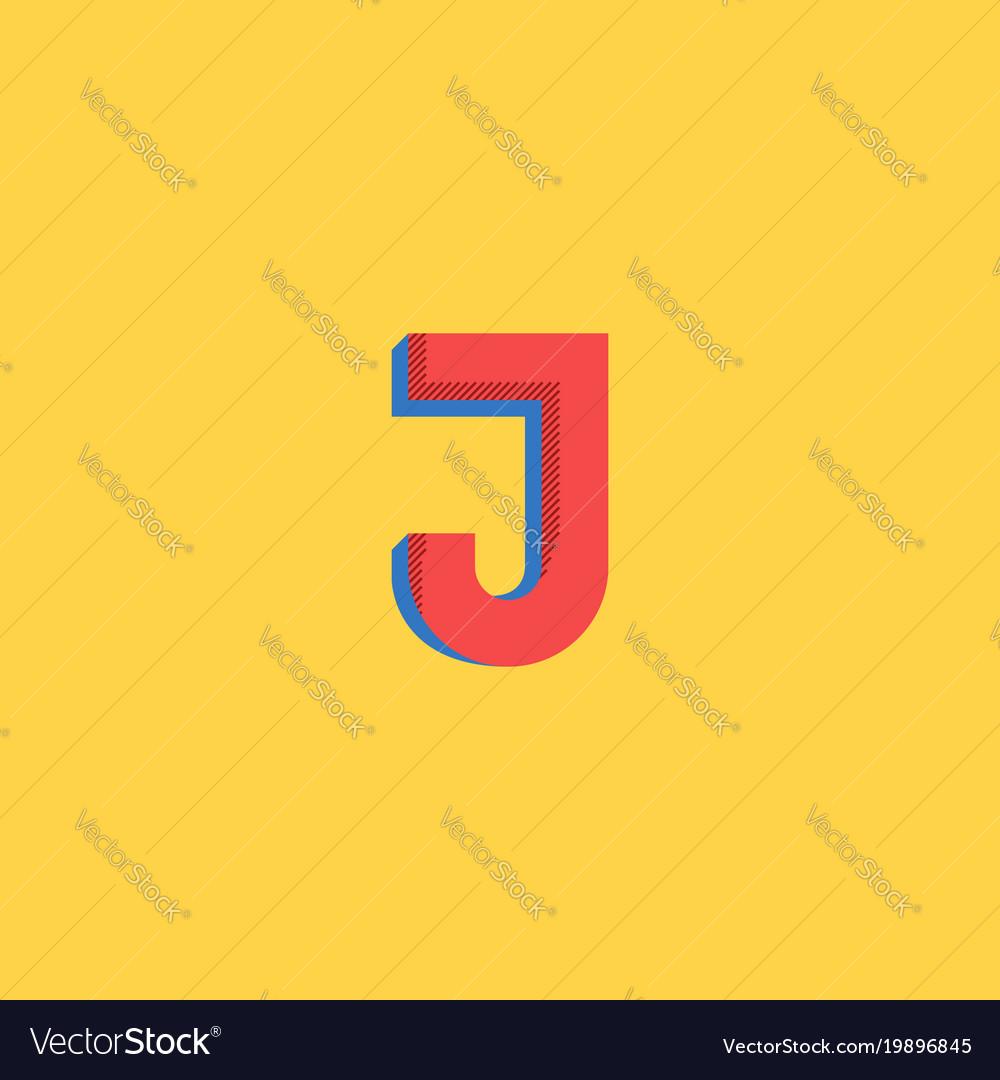 Pop art style logo j letter halftone colors