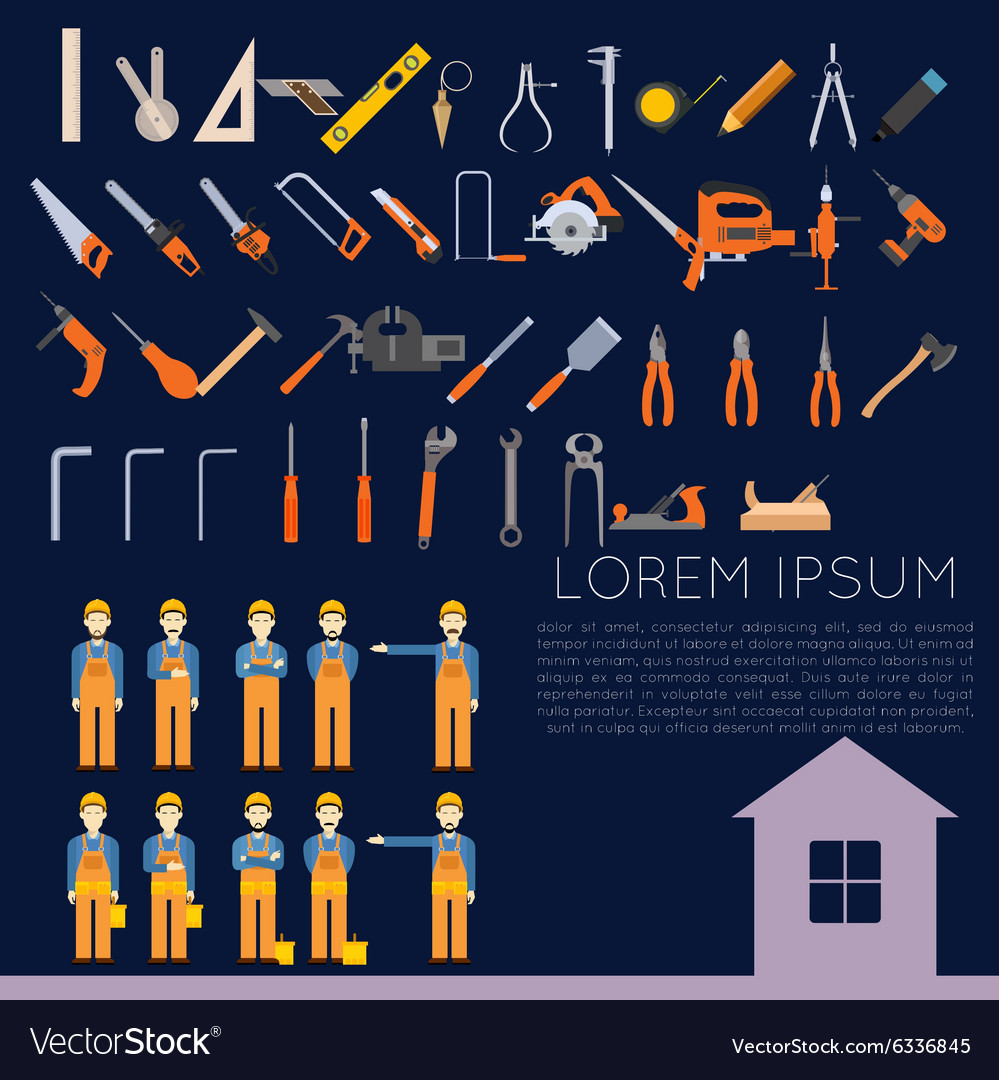 Set of icons owith tools for repair vector image