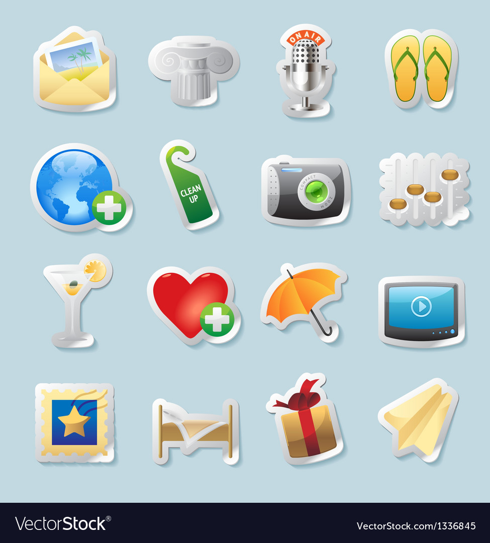 Sticker icons for entertainment vector image