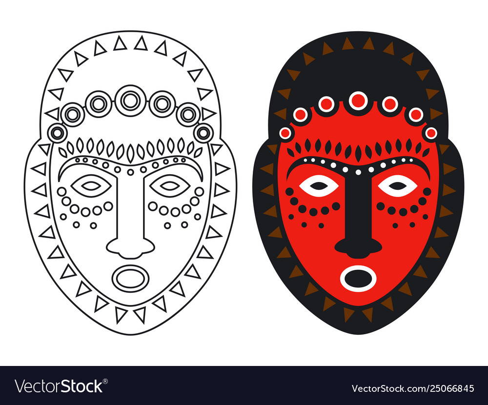 Tribal maya african masks - outlune and color
