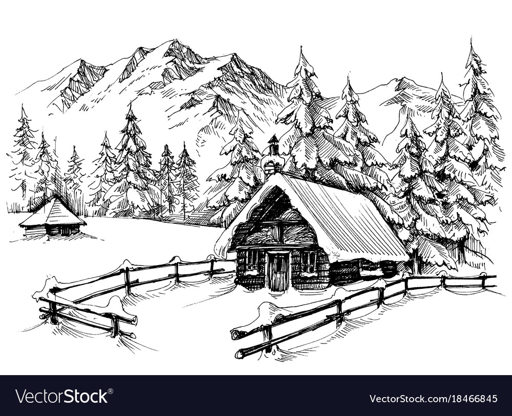 Winter Cabin In The Mountains Royalty Free Vector Image