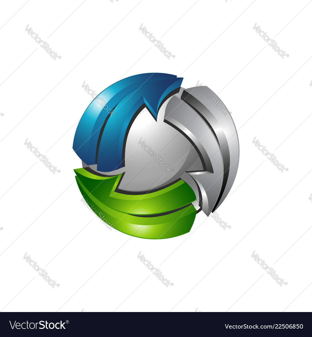 3d sphere logo template with silver blue and
