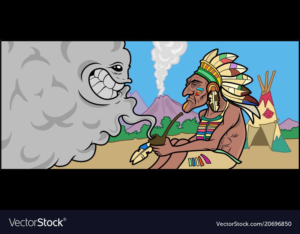 A native american shaman talking with smoke