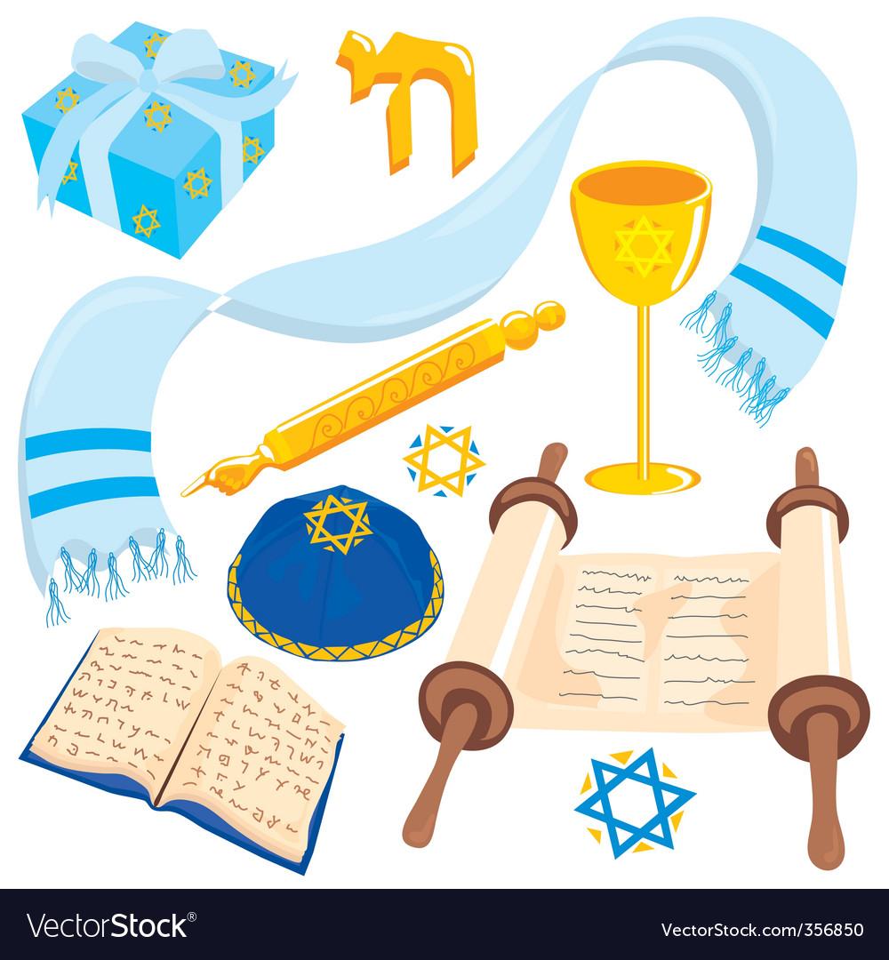 Bar or mat mitzvah icons vector image