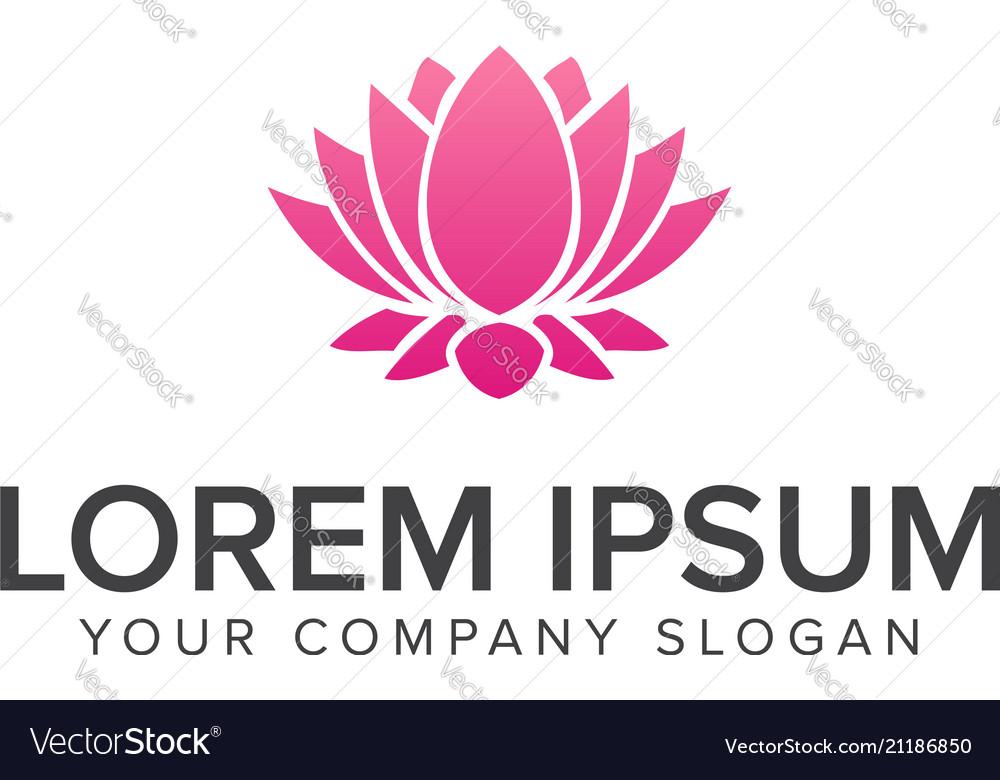 Beautiful lotus flower symbol logo design concept vector image mightylinksfo
