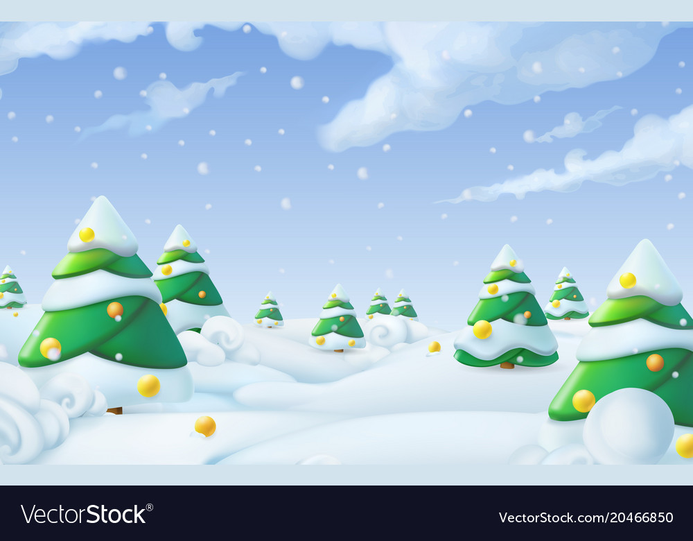 Christmas background winter landscape 3d