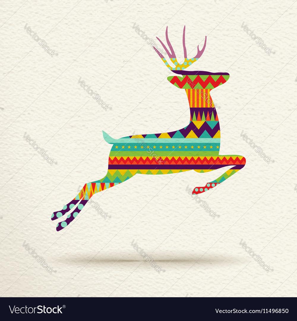 Christmas reindeer in fun geometric art style vector image