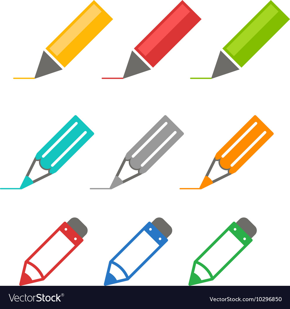 Color crayons and markers icons set