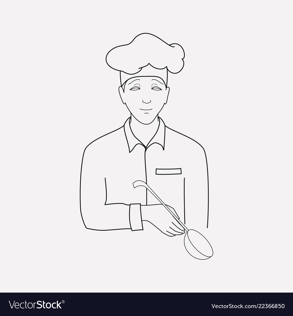 Cook icon line element of