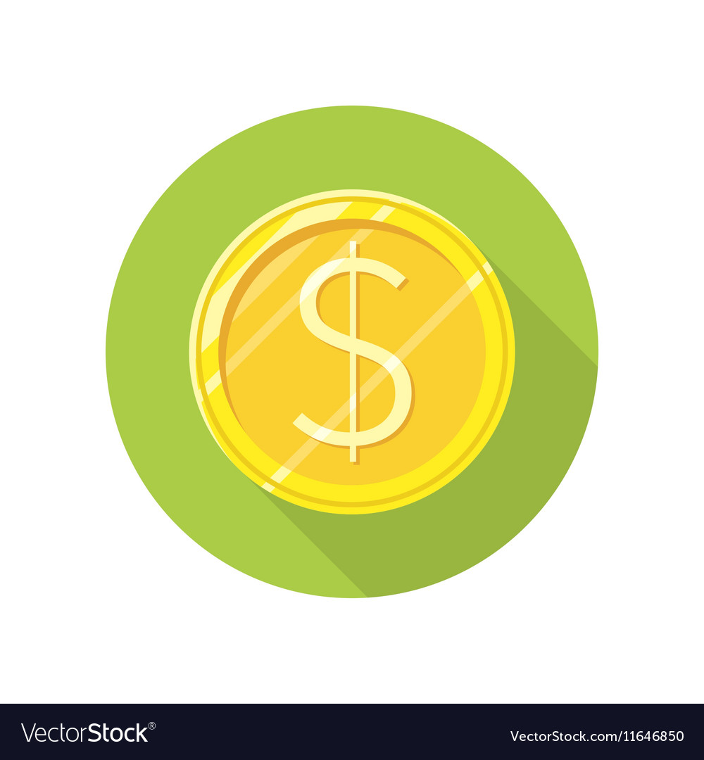 Dollar Gold Coin Icon in Flat Style Design