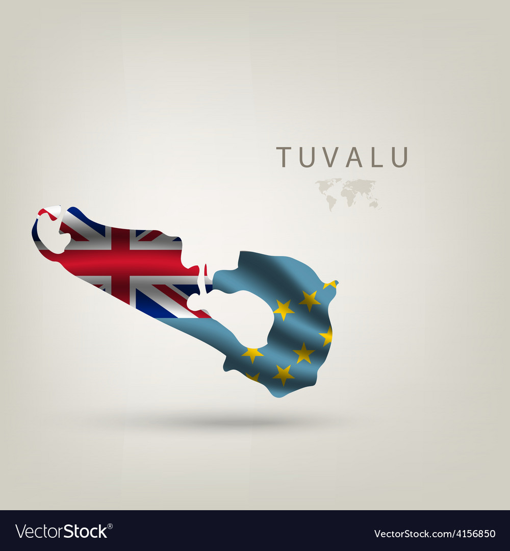 Flag of TUVALU as a country with a shadow vector image