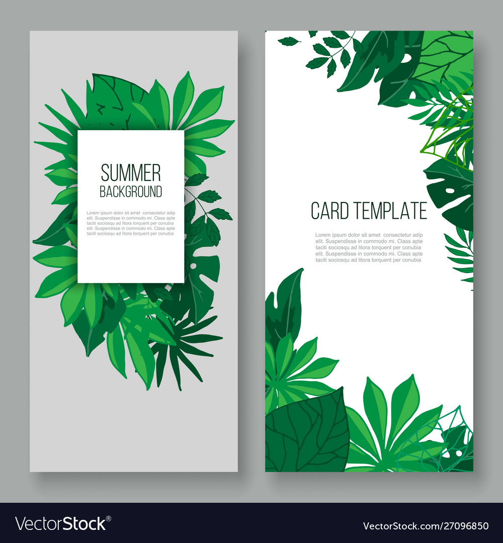 Floral leaves invitation card vector