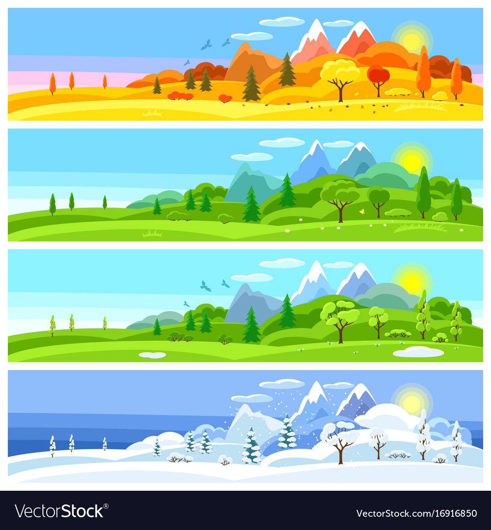 - Four Seasons Landscape Banners With Trees Vector Image