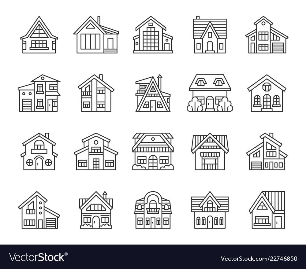 House simple black line icons set