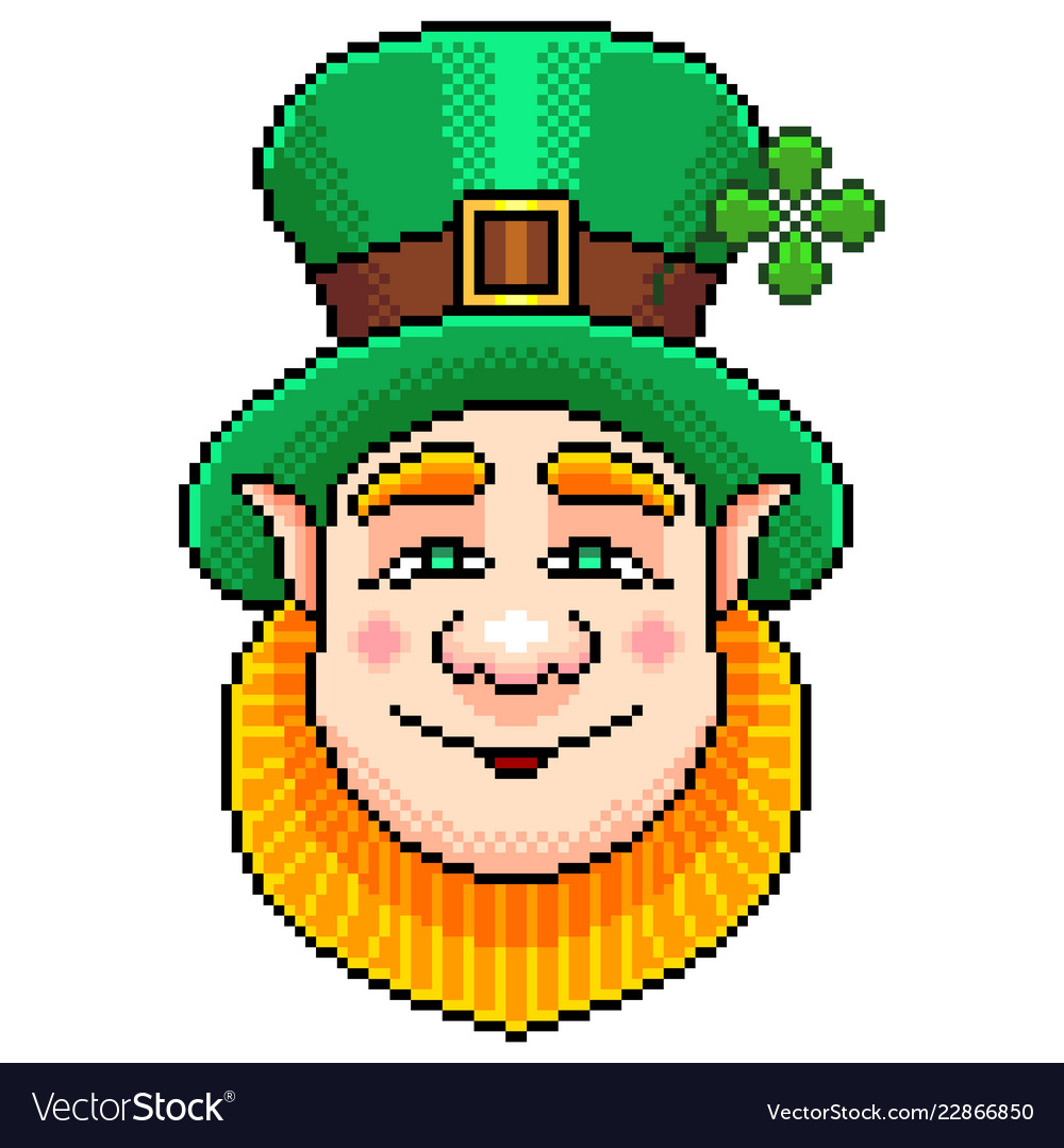 Pixel st patrick portrait detailed isolated
