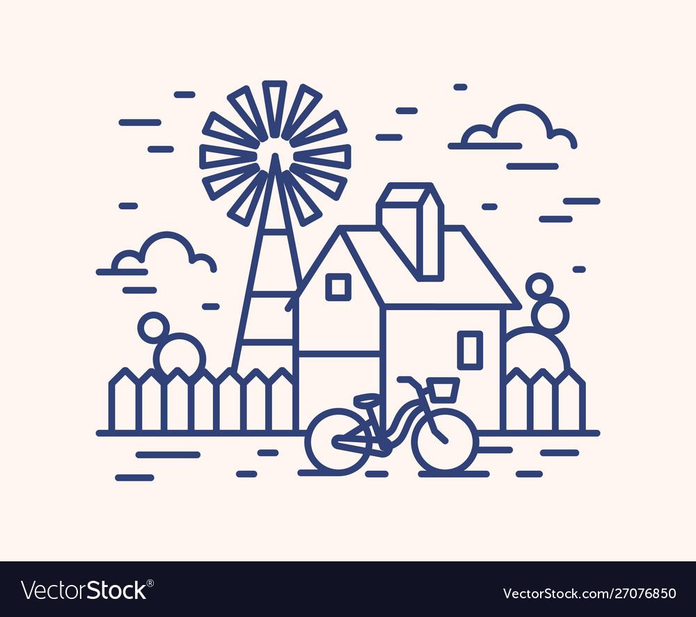 Rural house farm outline
