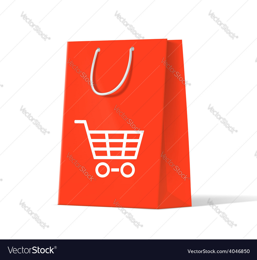 Shoplifting red handbag on a white background