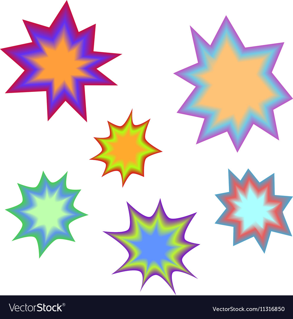 Star bursting boomComic book explosion set Hand