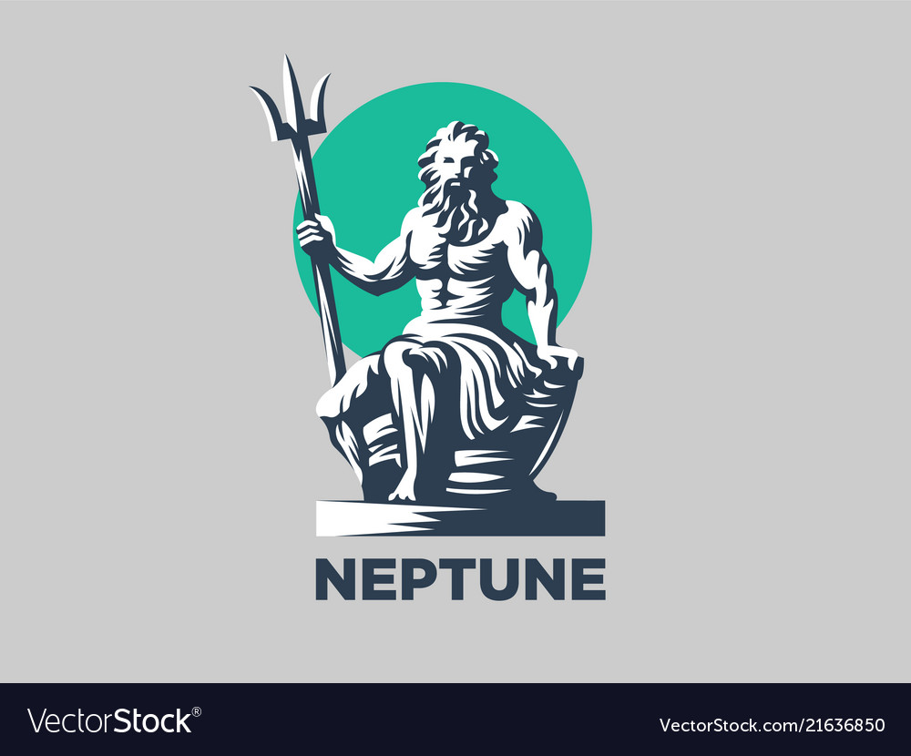 Statue of poseidon or neptune with a trident