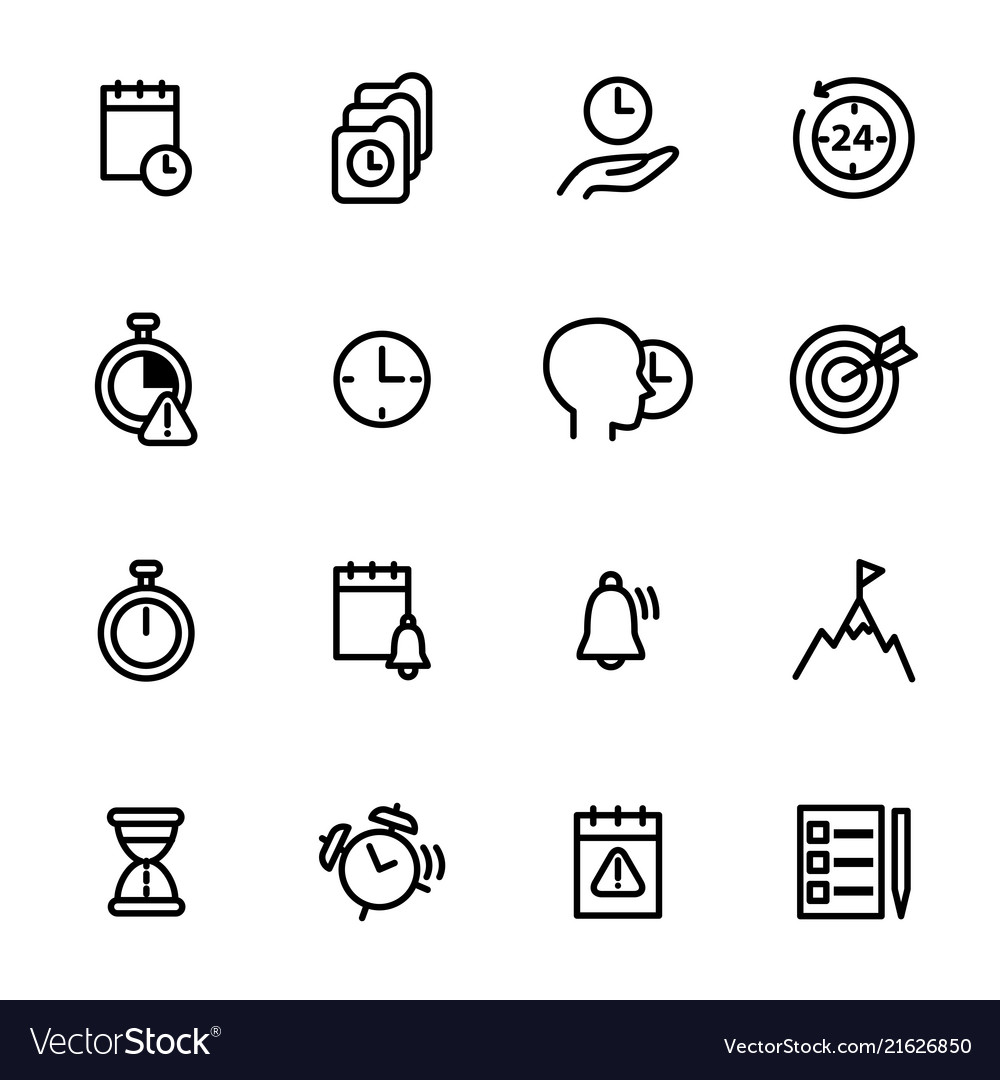 Time management signs black thin line icon set