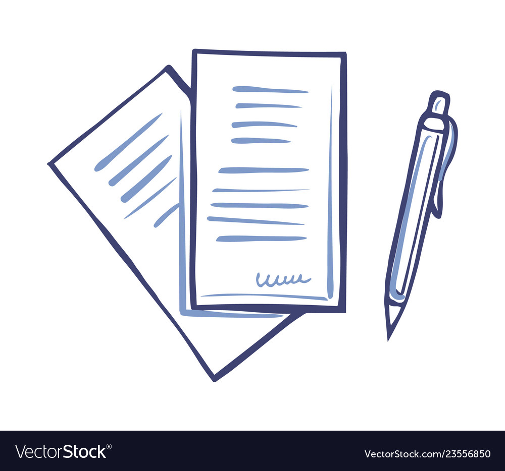 Writing pen and paper documents signature isolated