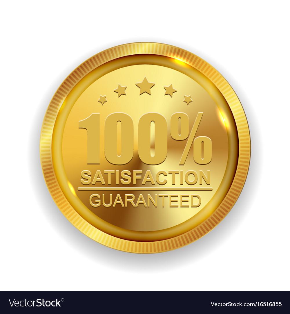 100 satisfaction guaranteed golden medal label
